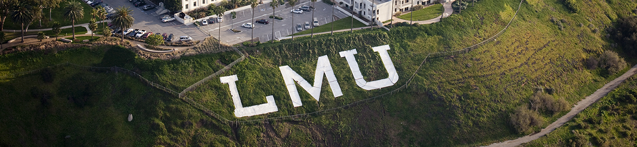 Aerial view of the LMU letters on the bluff
